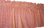 Orange Gingham Window Valance
