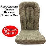 Quick Ship! Glider Rocker Cushion Set - Pewter Tapestry Fabric