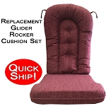 Quick Ship! Glider Rocker Cushion Set - Burgundy Chenille Fabric