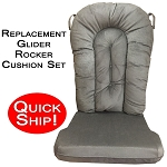 Quick Ship! Glider Rocker Cushion Set - Grey Micro Denier