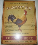 Rooster Metal Sign Antiqued