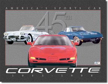 Corvette 45th Anniversary Tin Sign