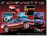 Corvette 50th Anniversary Tin Sign