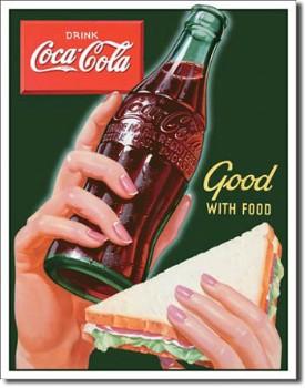 Coca Cola Good With Food Tin Sign