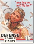 Defense Bond Stamps Tin Sign