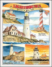 Bates Lighthouses Tin Sign