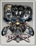 Live to Ride Wolves Tin Sign