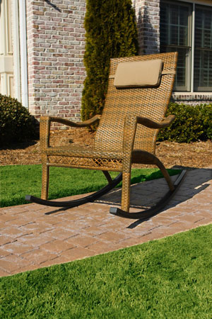 Synthetic Wicker Outdoor Rocking Chair