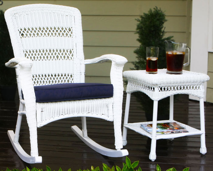 ... Coastal White Wicker Outdoor Rocking Chair  Source: finewebstores.com