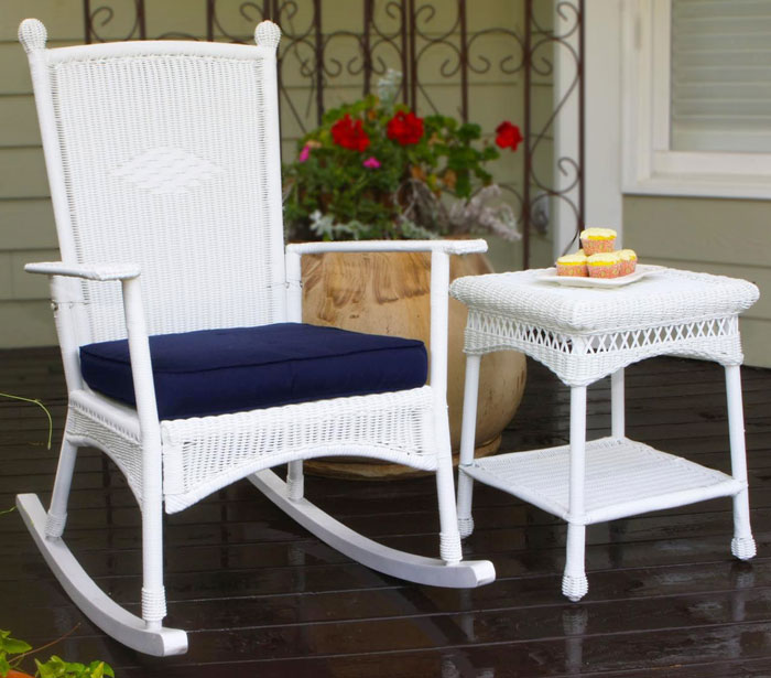 classic coastal white wicker outdoor rocking chair. Black Bedroom Furniture Sets. Home Design Ideas