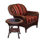 Lexington Synthetic All Weather Wicker Club Chair And End Table