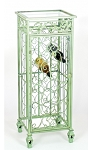 Mint Green Glass Top Wine Cabinet