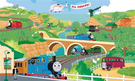 thomas the train friends xl wall mural 6 39 x 10 39. Black Bedroom Furniture Sets. Home Design Ideas