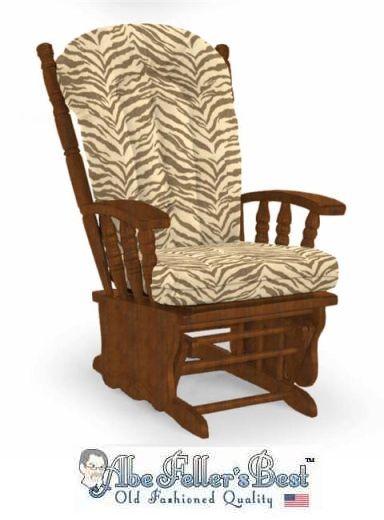 replacement glider rocker cushion set brown zebra print larger size - Rocking Chair Cushion Sets