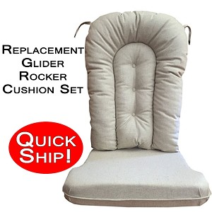 Quick Ship! Glider Rocker Cushion Set - Natural Linen Fabric