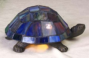 Blue Turtle Figural Resin Lamp 9 inches Long