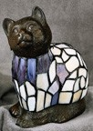 Multi-Colored Blue and White Cat Figural Resin Lamp 9 inches High