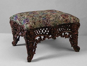 Medium Upholstered Cast Iron Tapestry Footstool with Gold Finish
