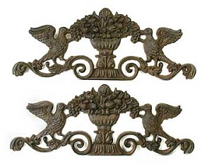 Rust Finish Cast Iron Wall Decor Pair