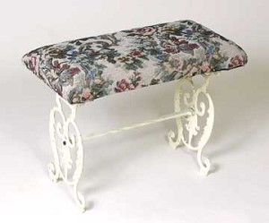 Cast Iron Tapestry Footstool Bench with Antique White Finish