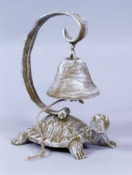 White Washed Cast Iron Turtle Bell