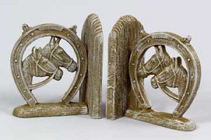 White Washed Iron Horseshoe Bookends