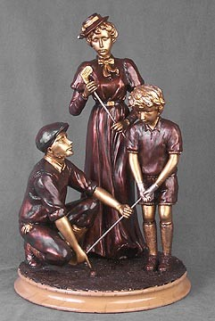 Teaching Golf Lesson Exquisite Bronze Figure Sculpture