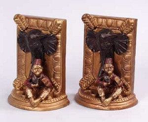 Elephant and Monkey Resin Bookends