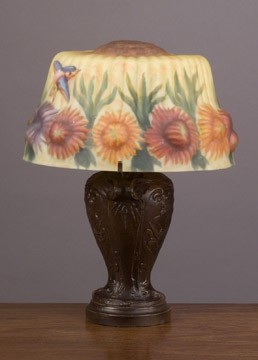 Floral Puffy Style Lamp 13.5 inches High x 10 inches Diameter