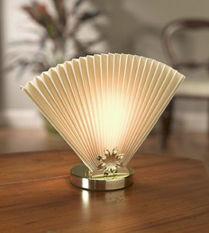 Beige Fan Table Lamp 9.5 inches High x 13 inches Diameter