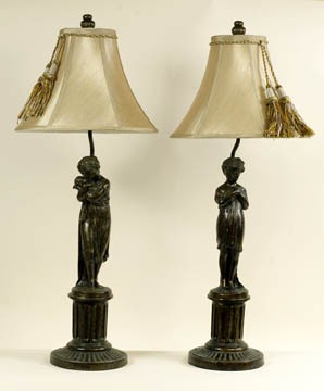 Boy and Girl Pair of Lamps 31 inches High x 12 inches Diameter