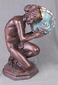 Man Holding Nautilus Table Lamp 14.5 inches High