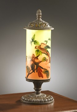 Hand Painted Bird Lamp 23 inches High