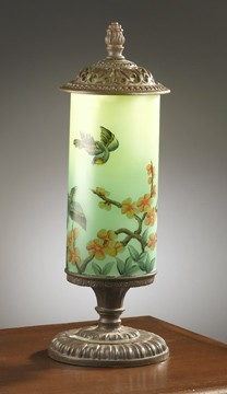 Hand Painted Green Bird Lamp 23 inches High