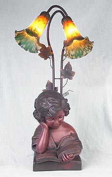 Girl Reading a Book Figural Resin Lamp 24.5 inches High