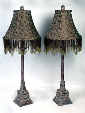 Pair of Buffet Lamps Bead Fringe 34 inches High x 12 inches Diameter