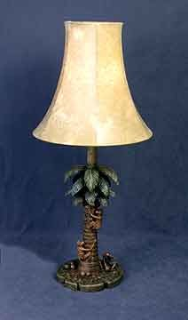 Monkeys and Palm Tree Table Lamp 21 inches High x 9 inches Diameter