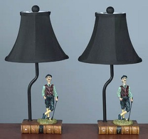 Pair of Golfer Table Lamps 15 inches High x 7.5 inches Diameter