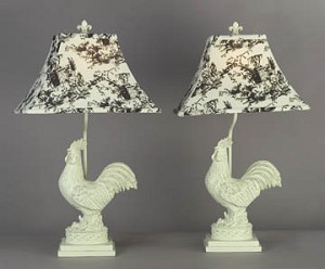 Pair of Rooster Table Lamps 25 inches High x 14 inches Diameter