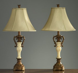 Pair of Light Marble Look Lamps 30 inches High x 15 inches Diameter