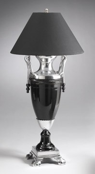 Black and Silver Finish Lamp 32 inches High x 15 inches Diameter
