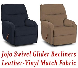 Jojo Swivel Glider Recliner in Leather-Vinyl Match