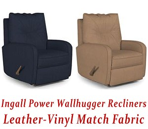 Ingall Power Wallhugger Recliner in Leather-Vinyl Match