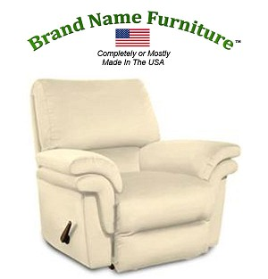 Off White Leather Recliner Bonded Rocker