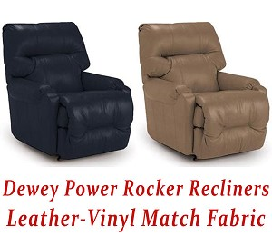 Dewey Power Rocker Recliner in Leather-Vinyl Match