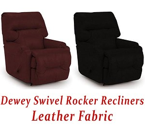 Dewey Swivel Rocker Recliner in Leather