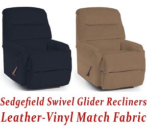 Sedgefield Swivel Glider Recliner in Leather-Vinyl Match