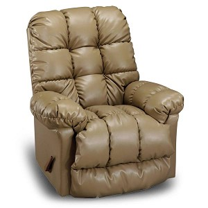 Brosmer Heat and Massage Swivel Rocker Recliner in Leather-Vinyl Match