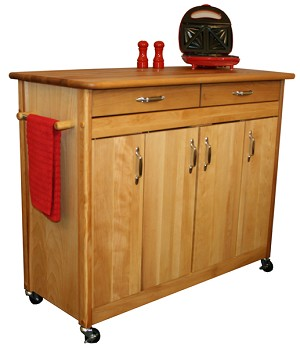 Original Super Butcher Block Kitchen Island with Flat Doors