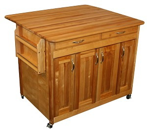 Super PLUS Butcher Block Kitchen Island with Drop Leaf